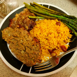 meatloaf riceandbeans asparagus homecooking comfort