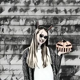 freetoedit remixme pumpkinemogi halloweensticker shadesofgray